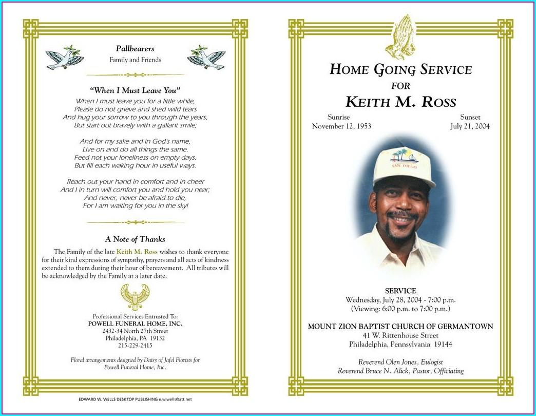 Free Sample Funeral Program Template