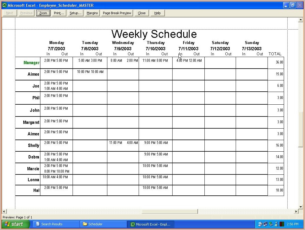 Free Scheduling Templates For Employee Scheduling