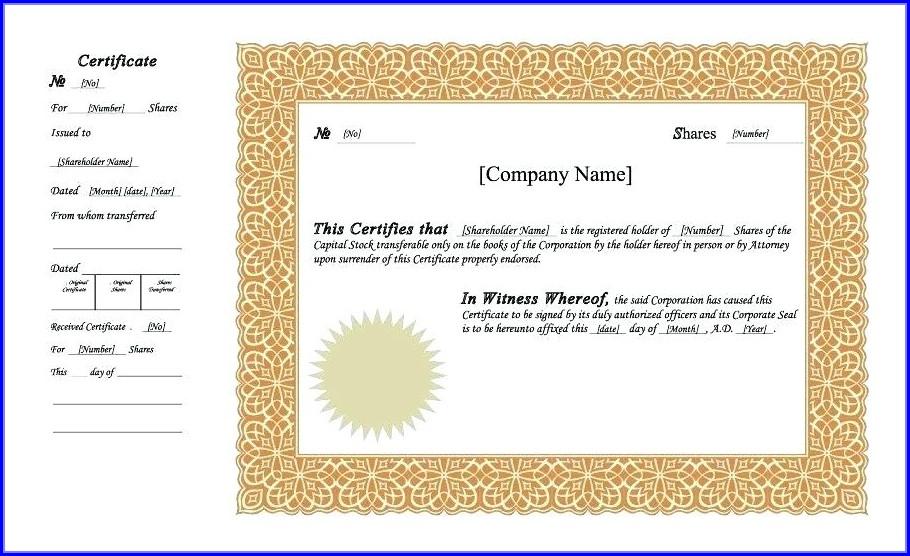 Free Share Certificate Template Canada