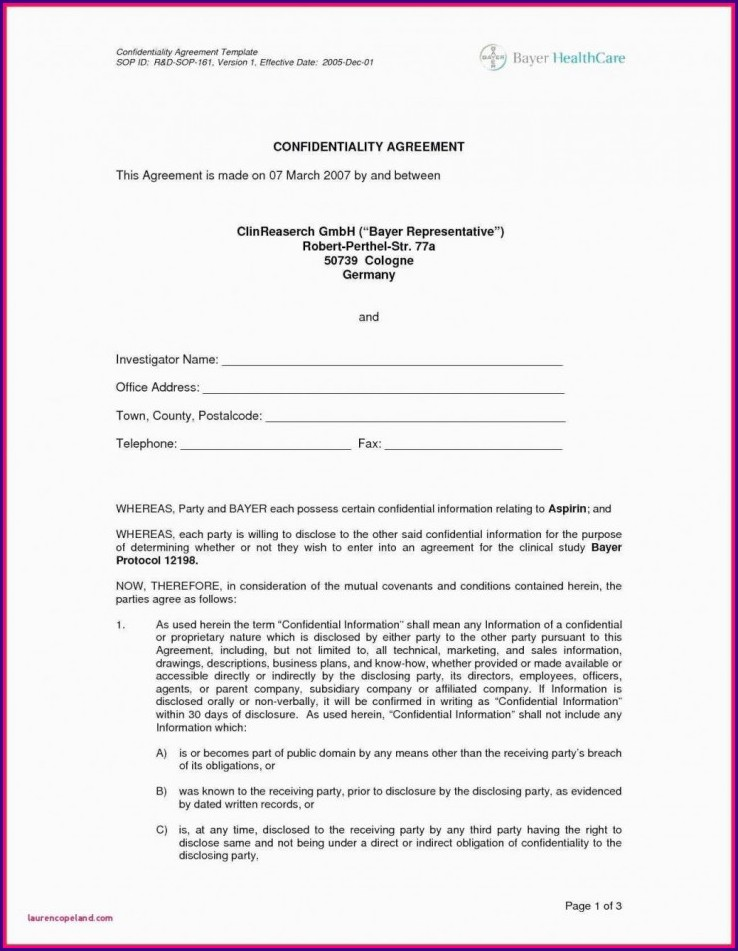 Free Simple Confidentiality Agreement Template Word