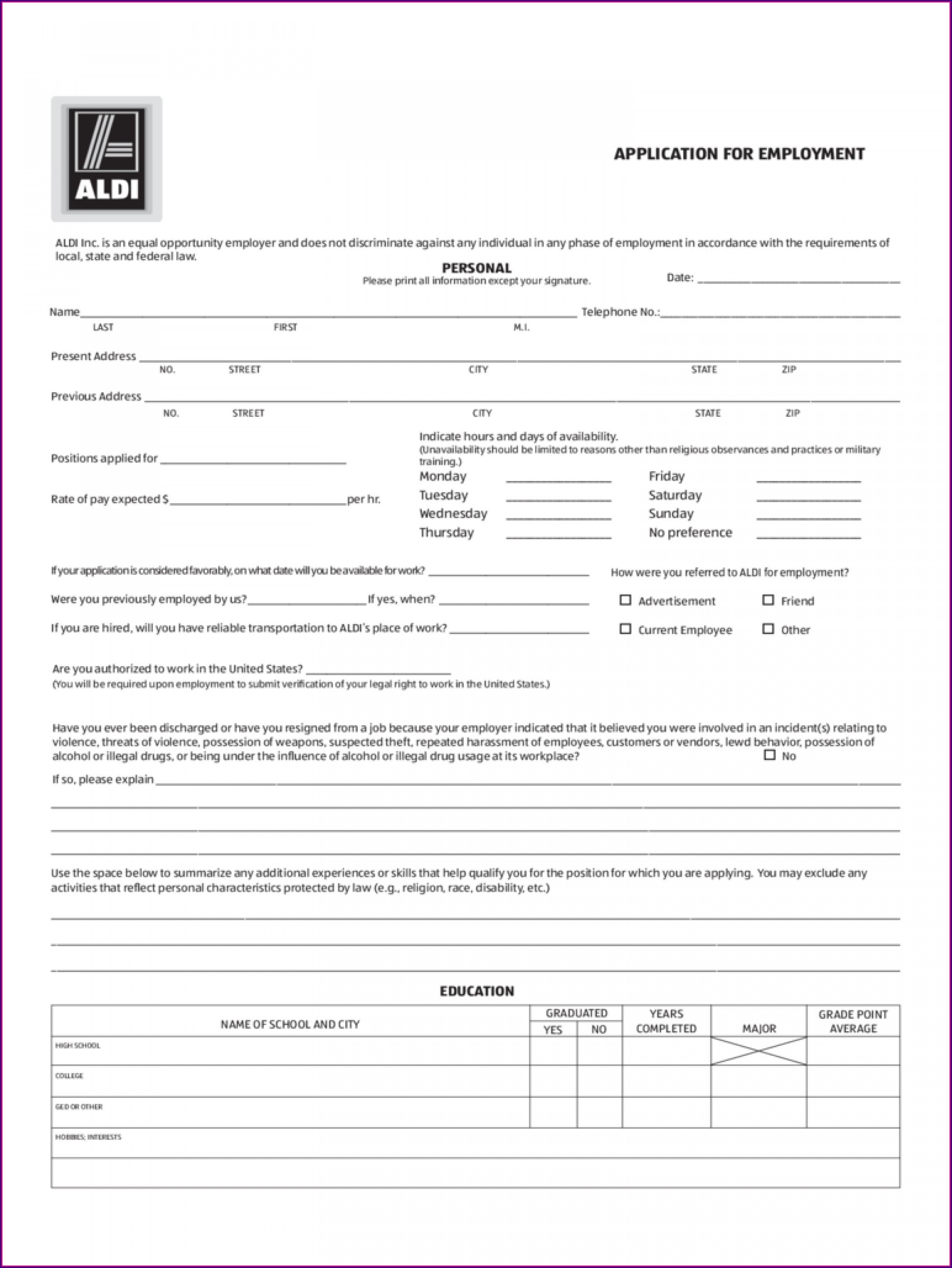 Free Simple Job Application Form Template