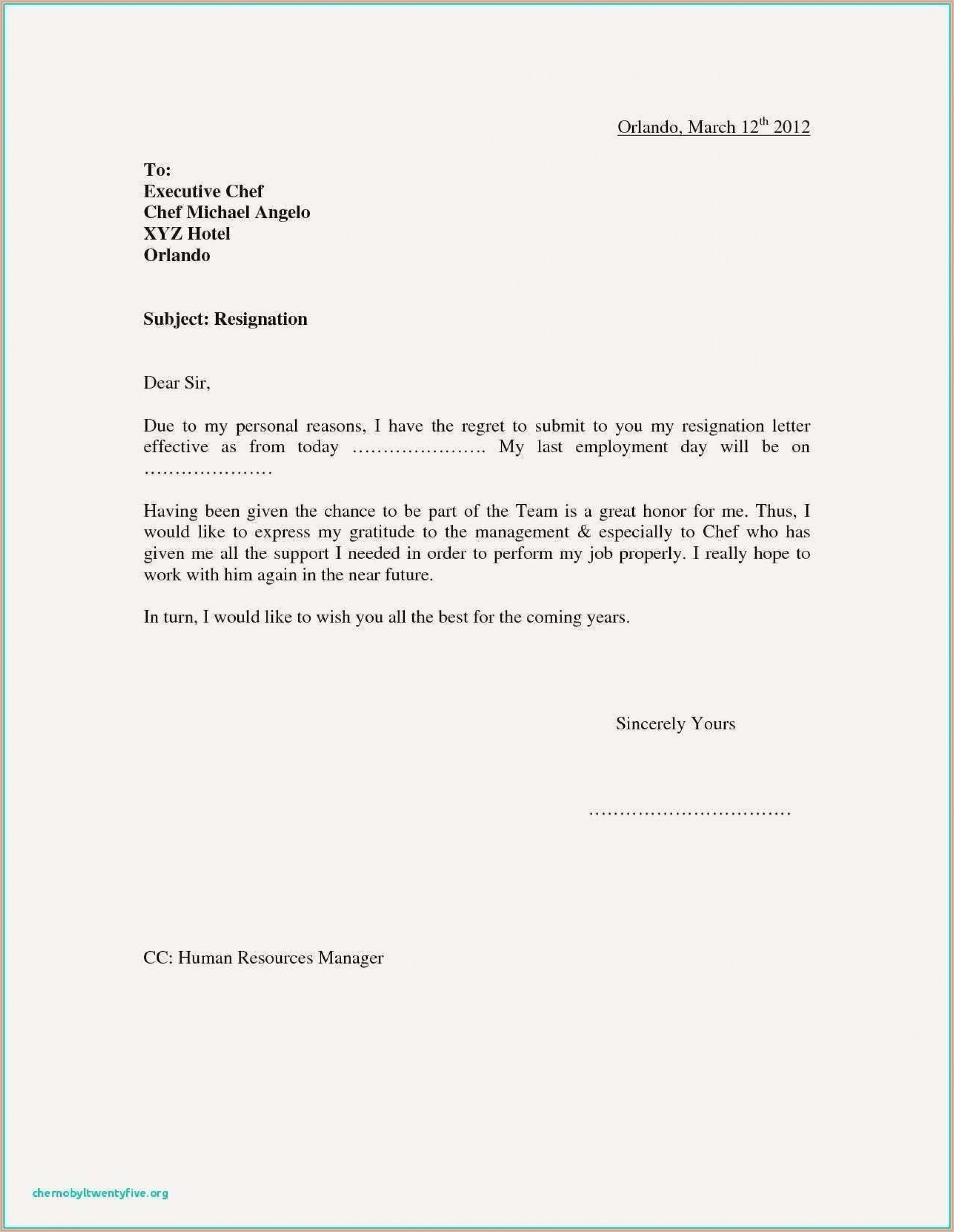 Free Template For Resignation Letter