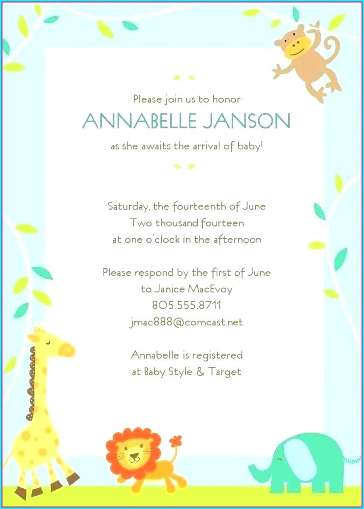 Free Template Safari Baby Shower Invitations