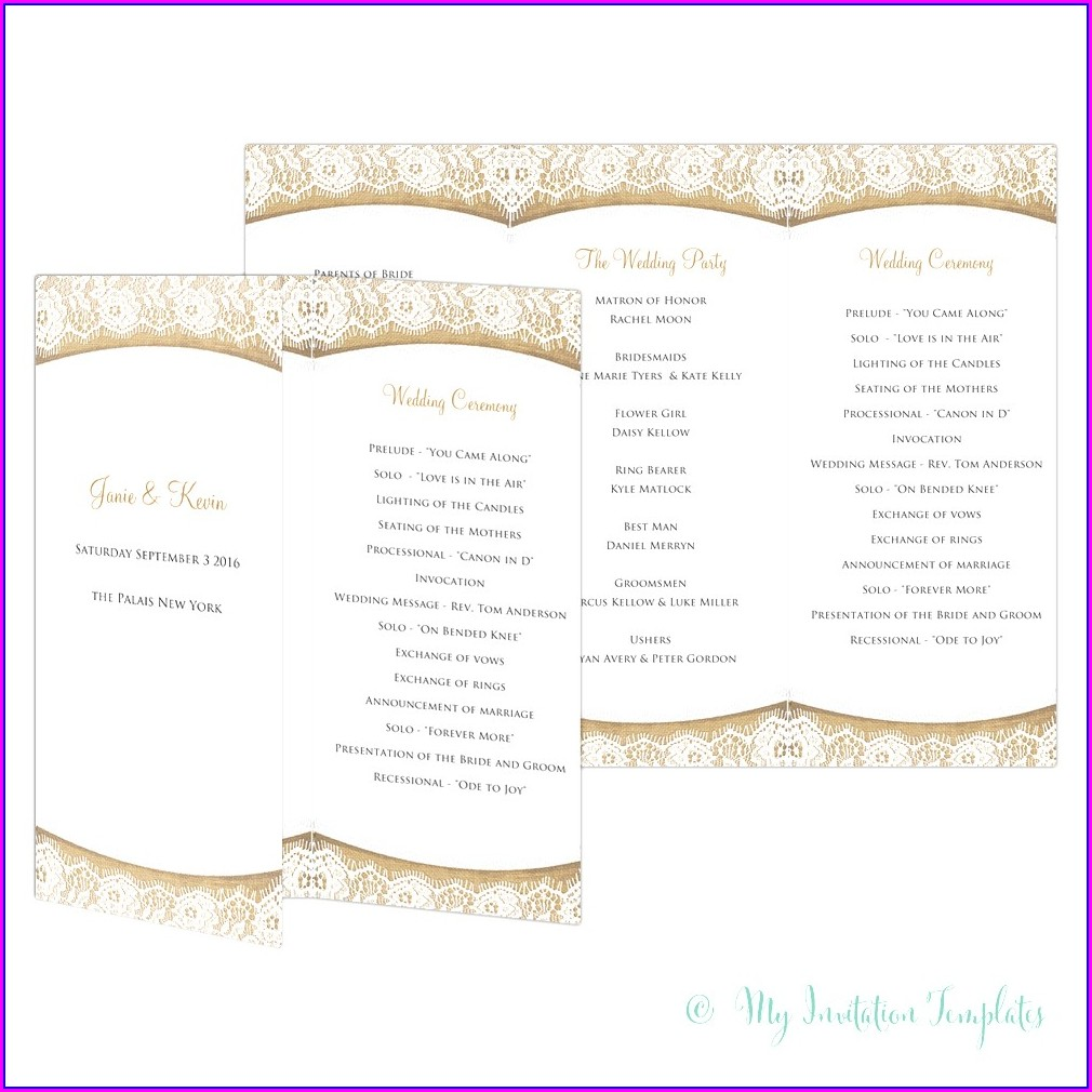 Free Tri Fold Wedding Program Template