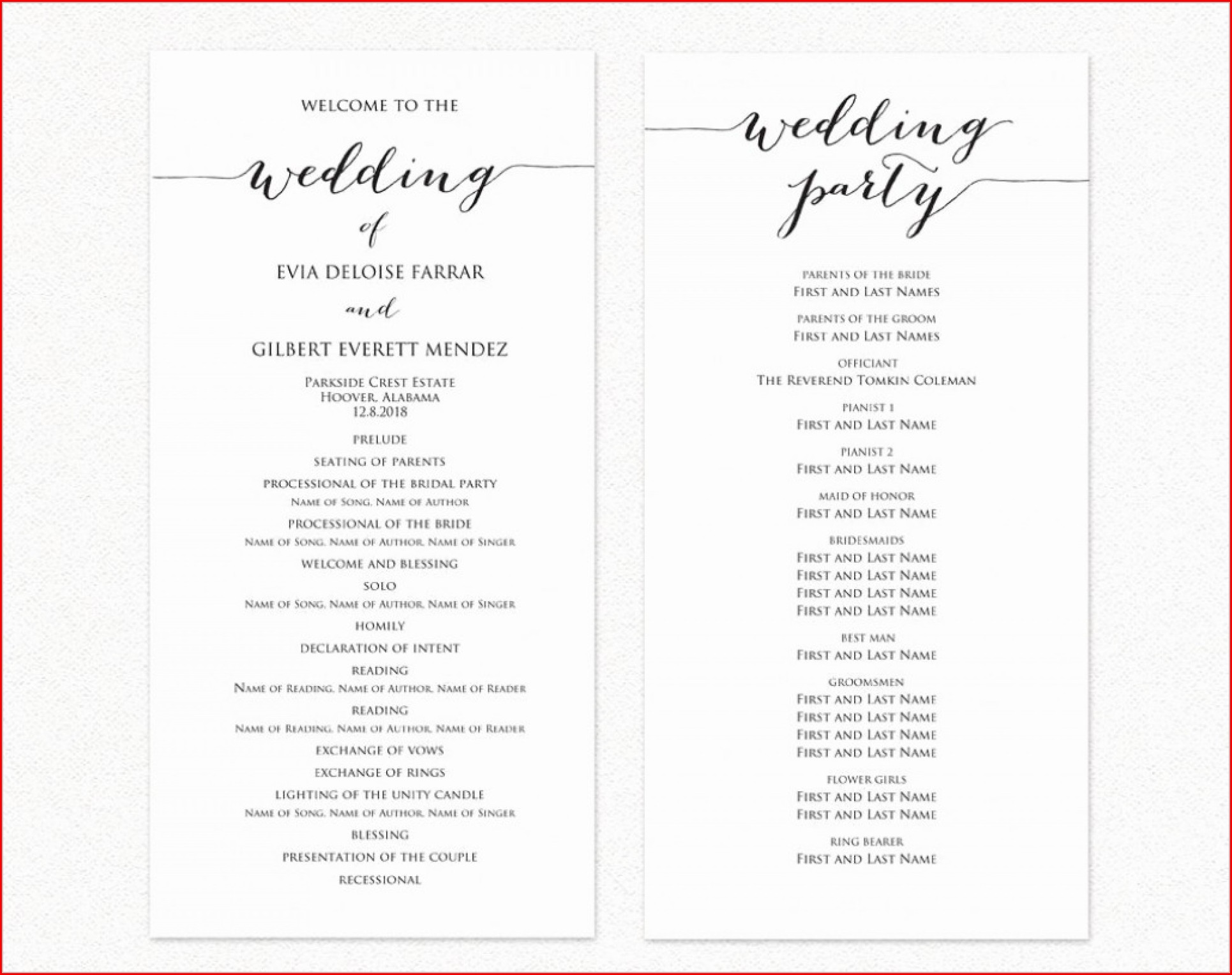 Free Wedding Ceremony Program Template