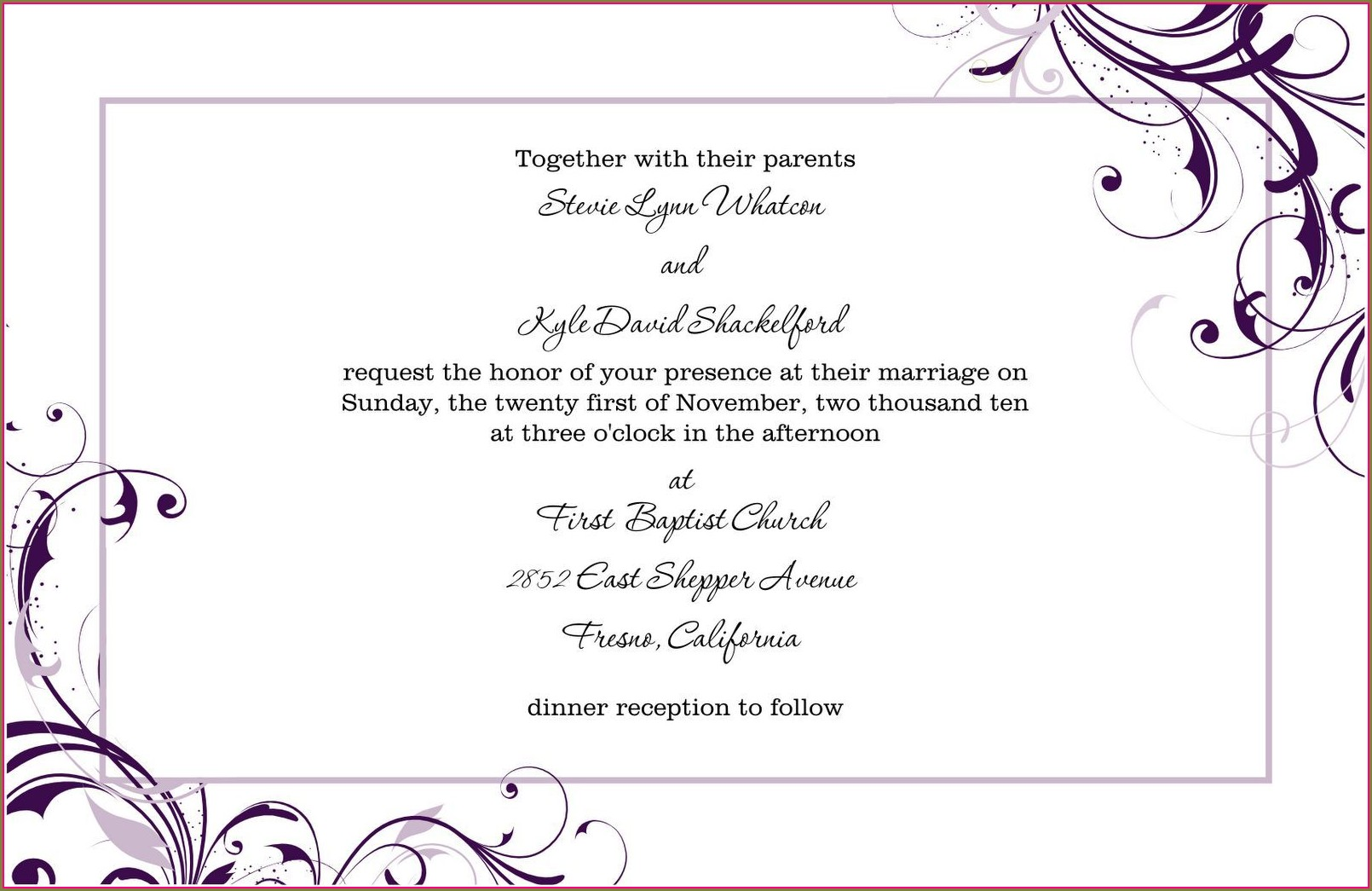 Free Wedding Reception Invitation Templates