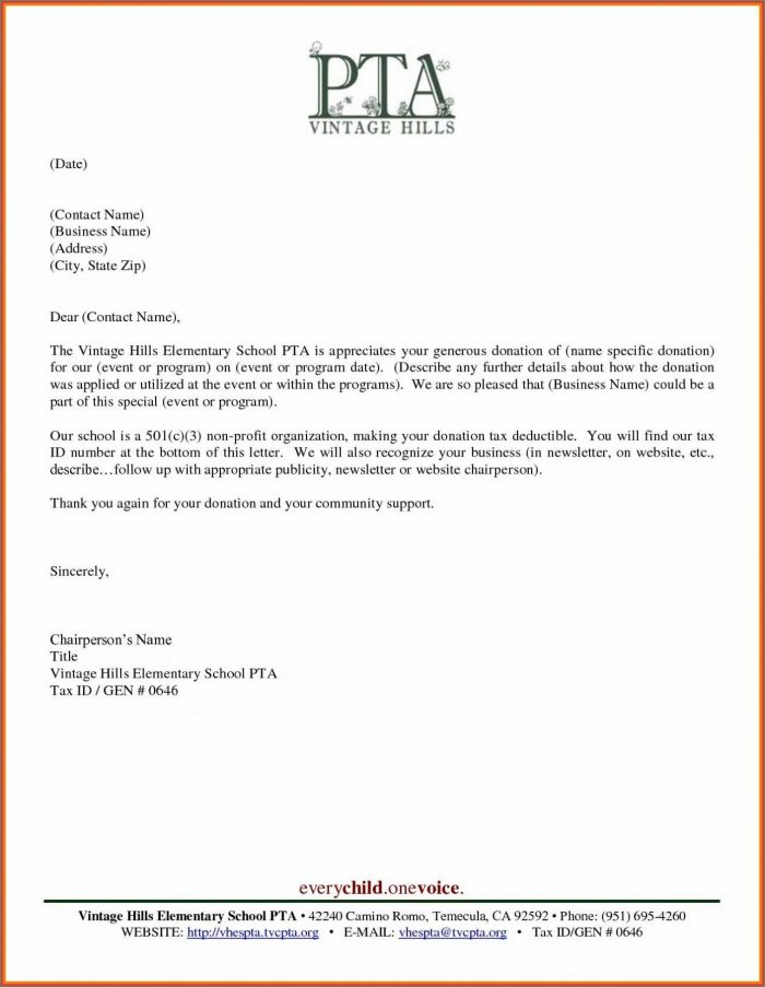 Fundraising Donation Template Letter