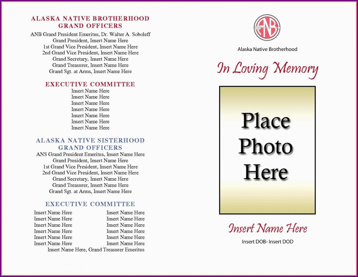 Funeral Booklet Template Word Free