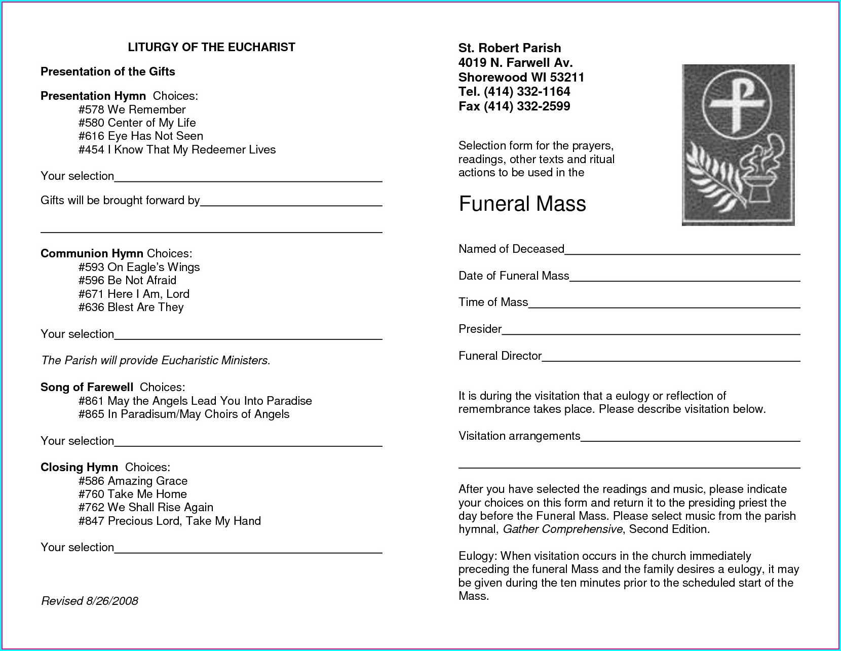 Funeral Mass Program Template Free