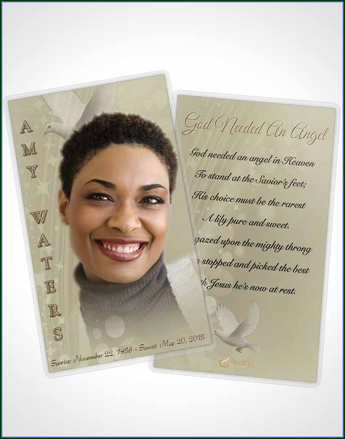 Funeral Prayer Card Template Free