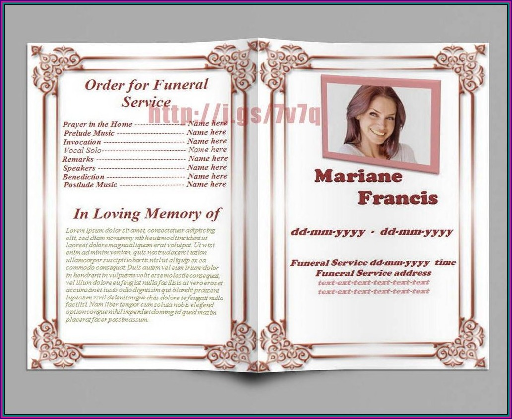 Funeral Program Funeral Booklet Template