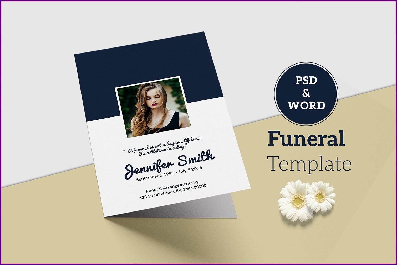 Funeral Program Printable Obituary Template