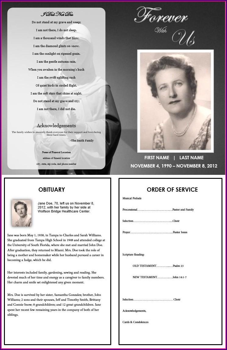 Funeral Program Sample Obituary Templates