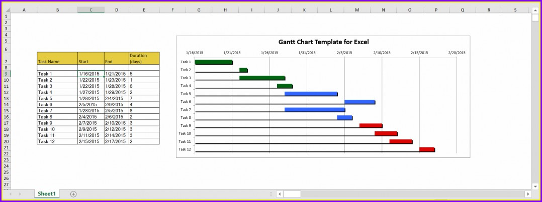 Gantt Chart Project Timeline Excel Template