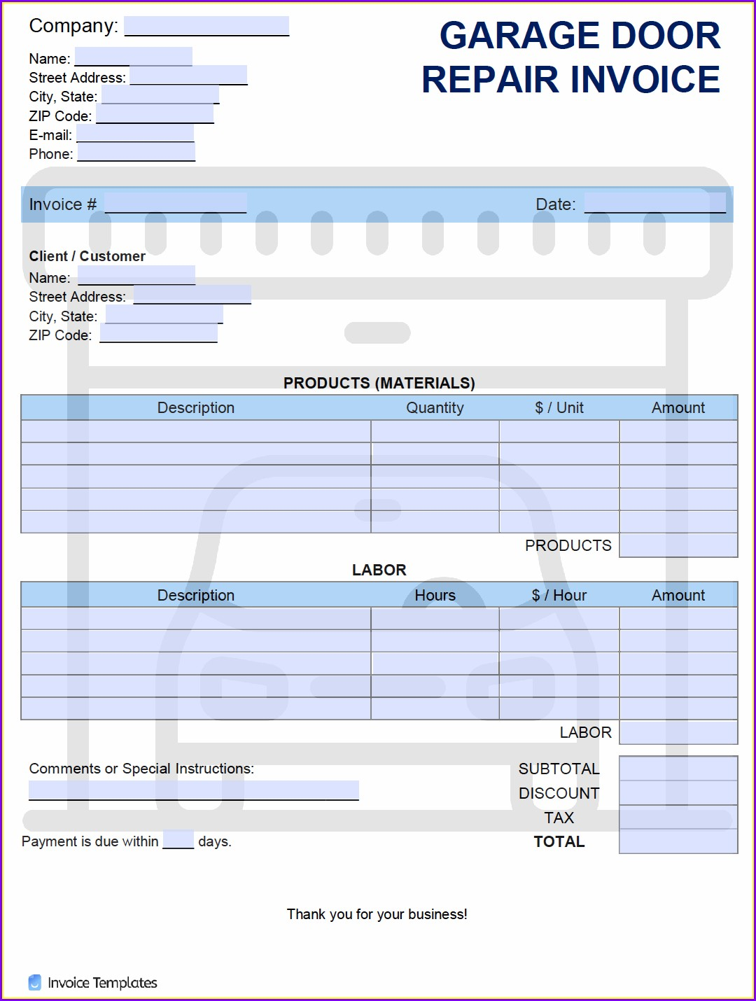 Garage Door Repair Invoice Template