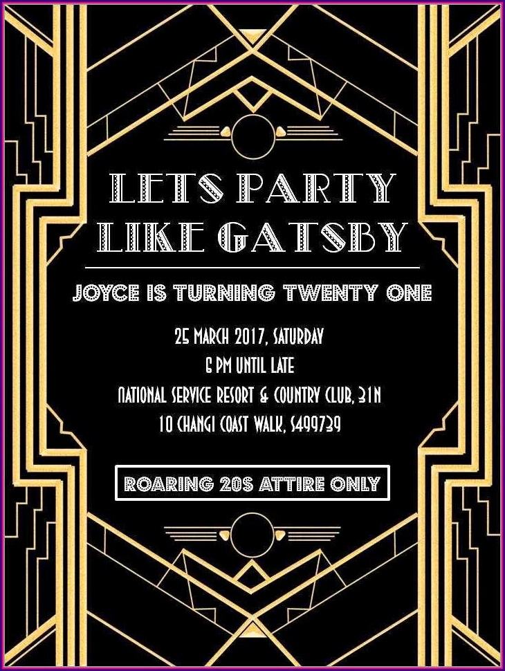 Gatsby Invitations Templates Free