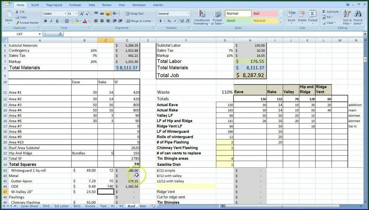 General Contractor Construction Cost Estimate Template Excel