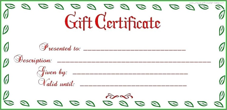 Gift Certificate Template For Beauty Salon