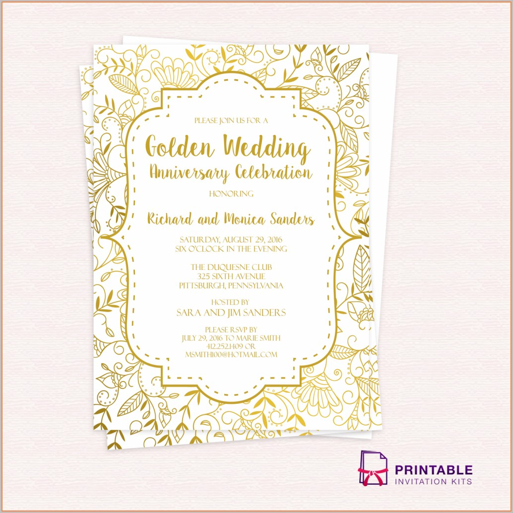 Gold 50th Wedding Anniversary Invitations Templates Free Download