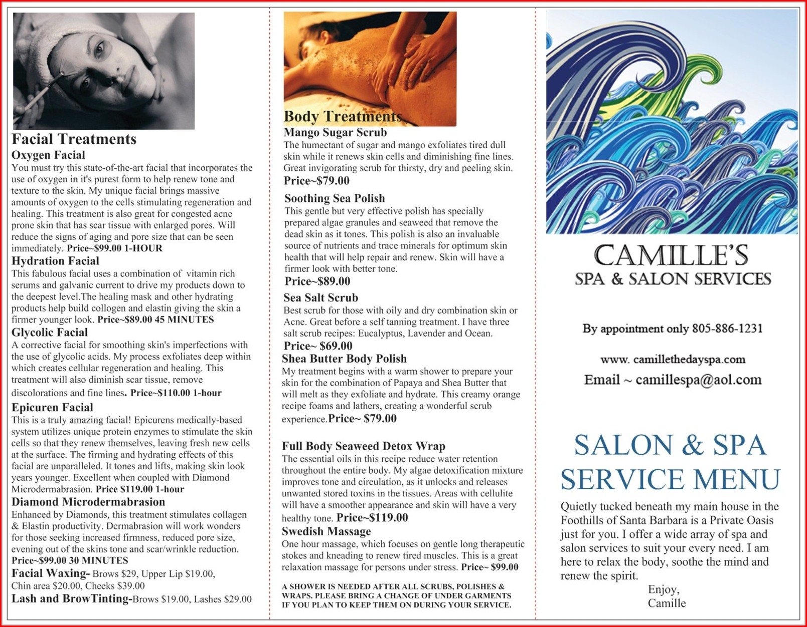 Hair Salon Service Menu Template