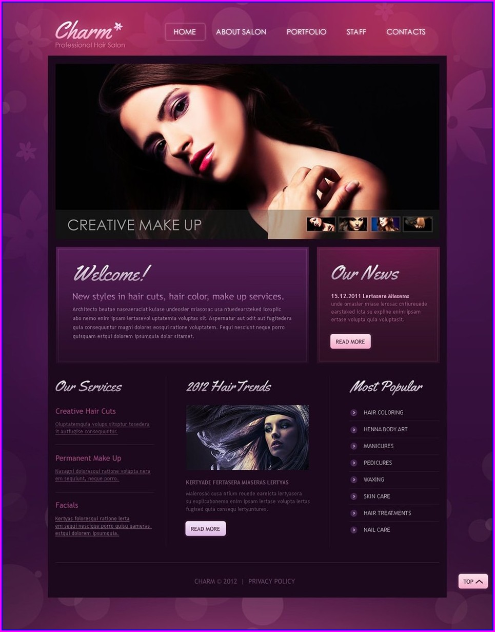 Hair Salon Website Templates