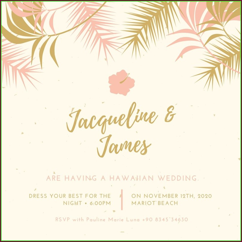 Hawaiian Wedding Invitation Templates