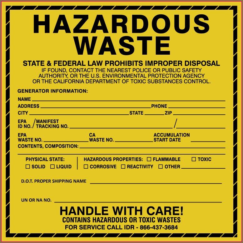 Hazardous Waste Label Template Philippines