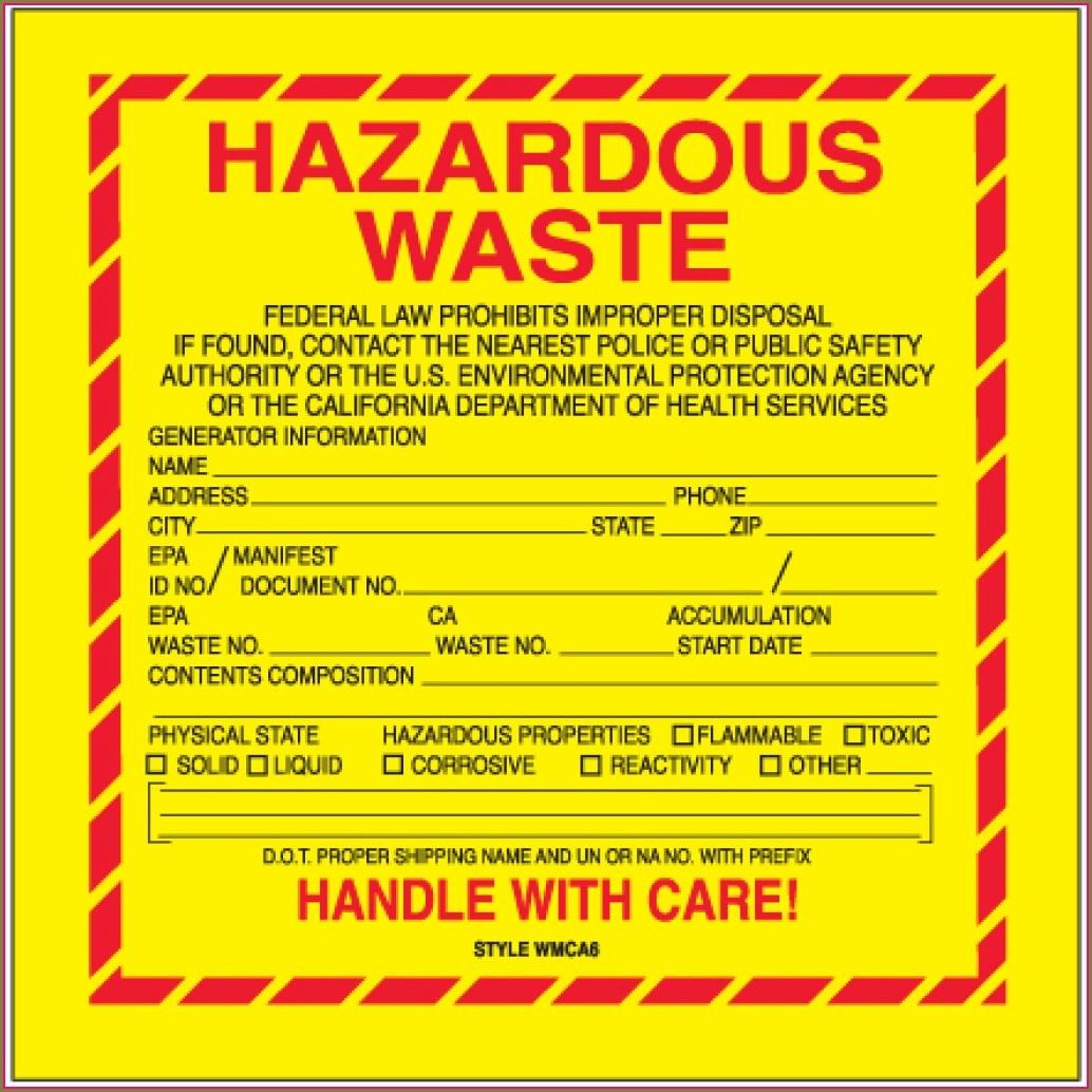 Hazardous Waste Label Template