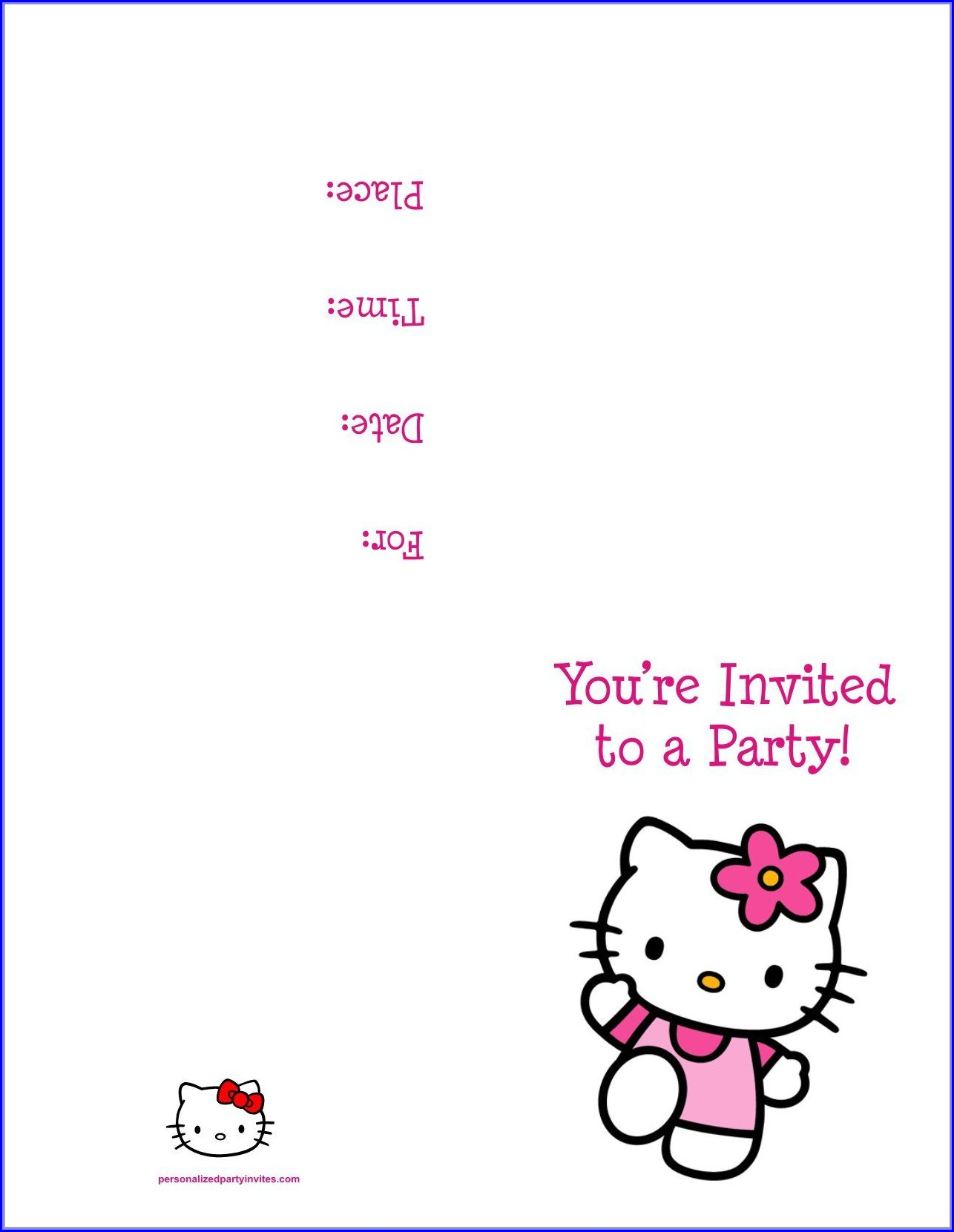 Hello Kitty Birthday Invitation Template Free Download