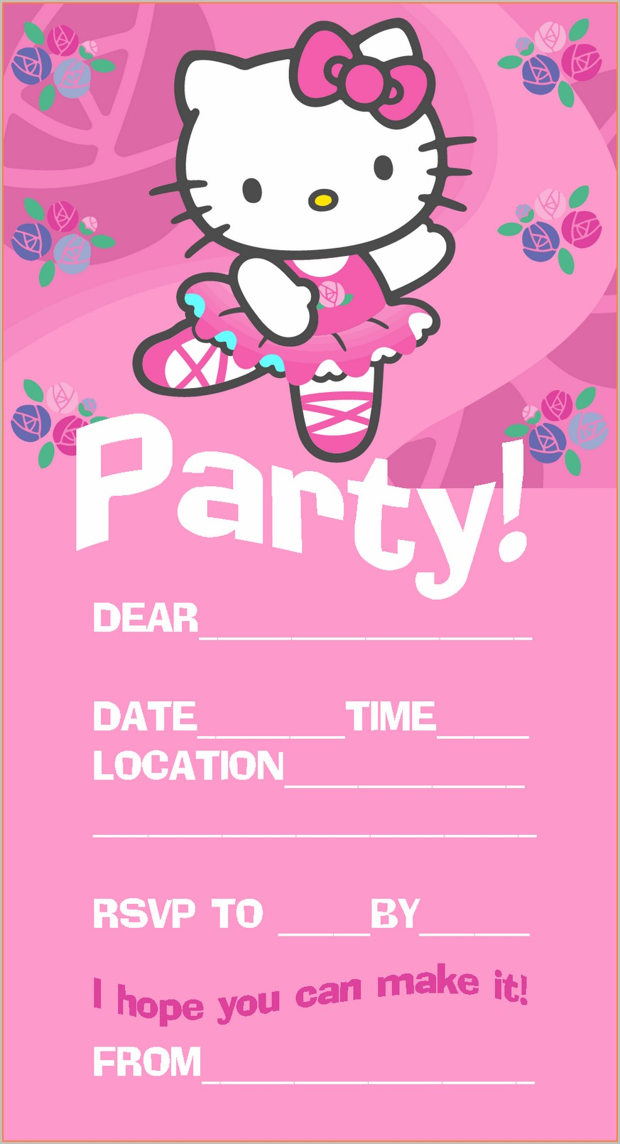 Hello Kitty Invitation Template Free