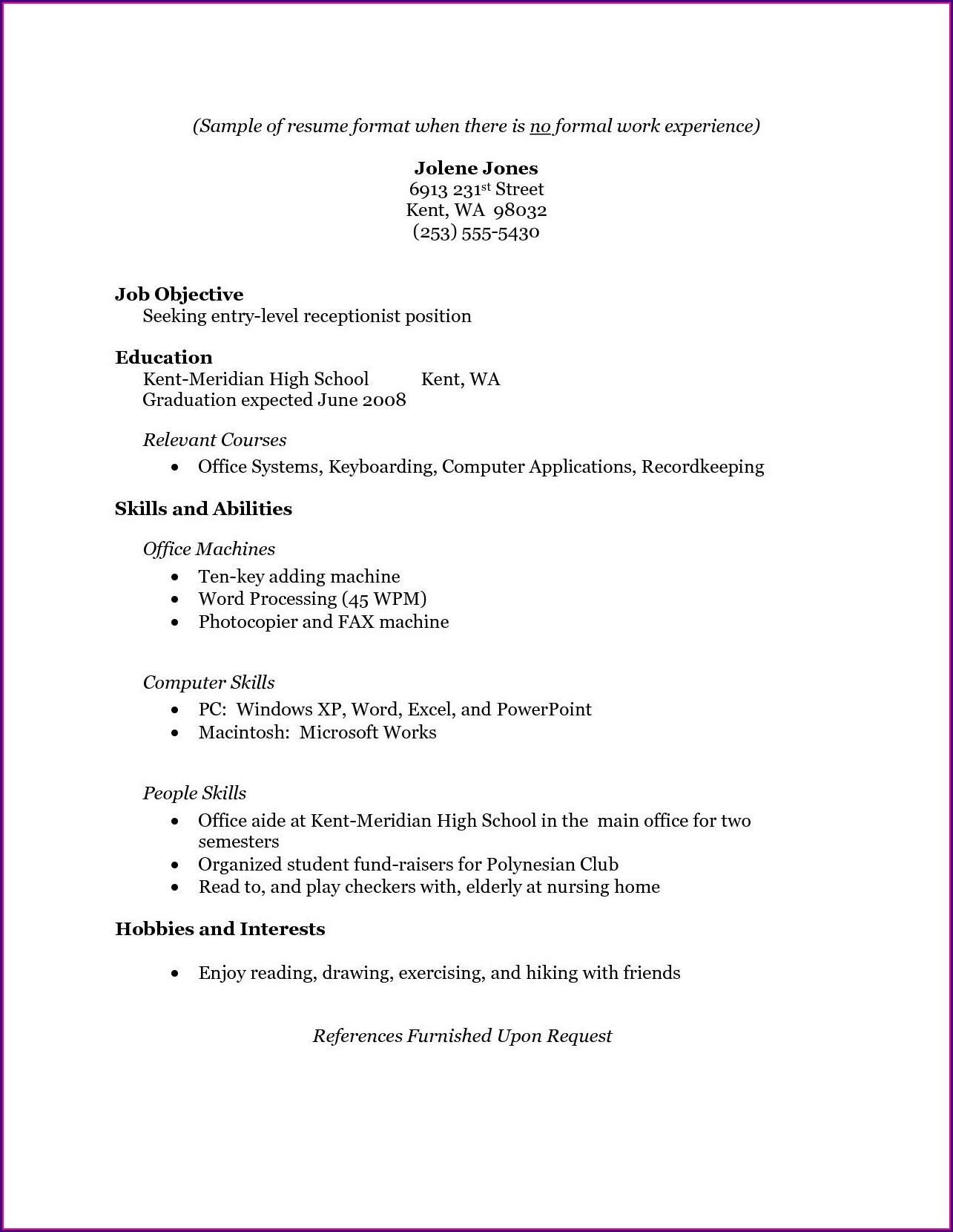 High Schooler Free High School Resume Template