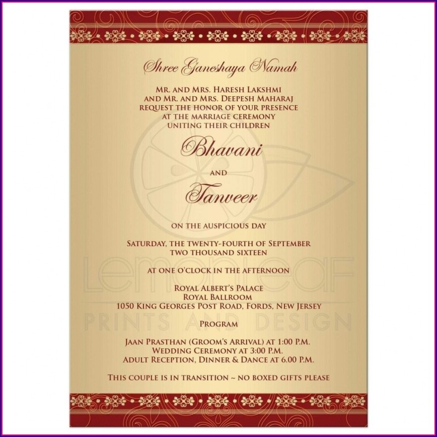 Hindu Wedding Card Templates Indian