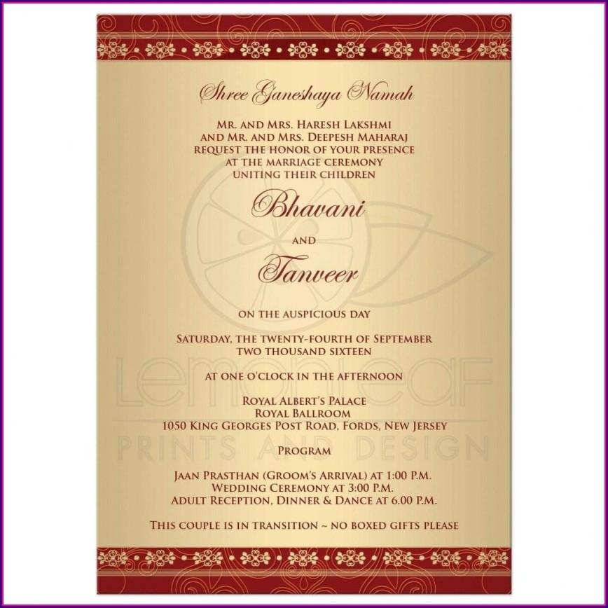 Hindu Wedding Card Templates Indian