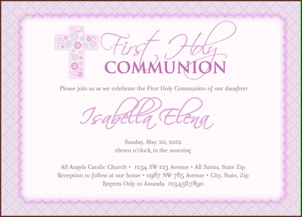 Holy Communion Invitation Templates