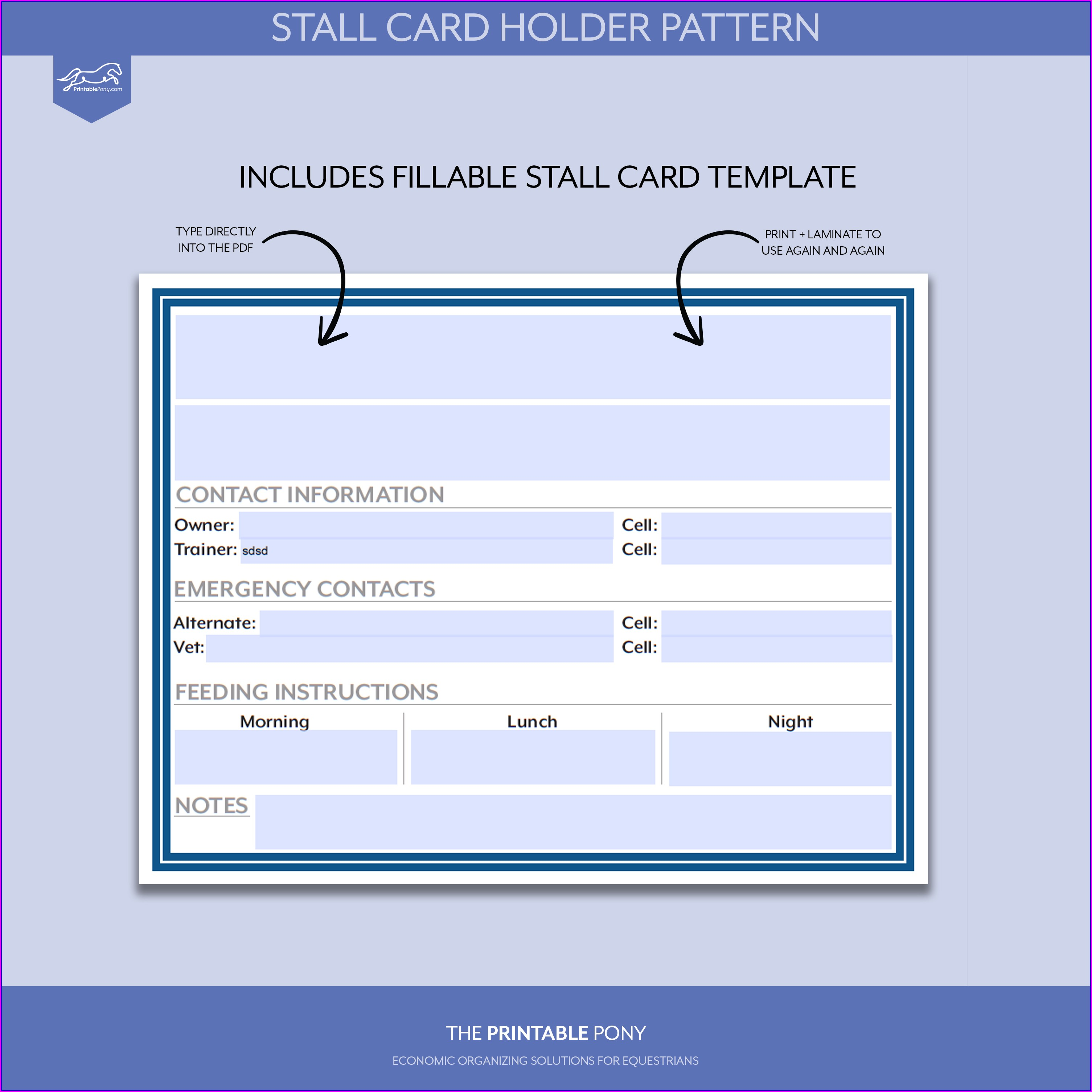 Horse Stall Card Template