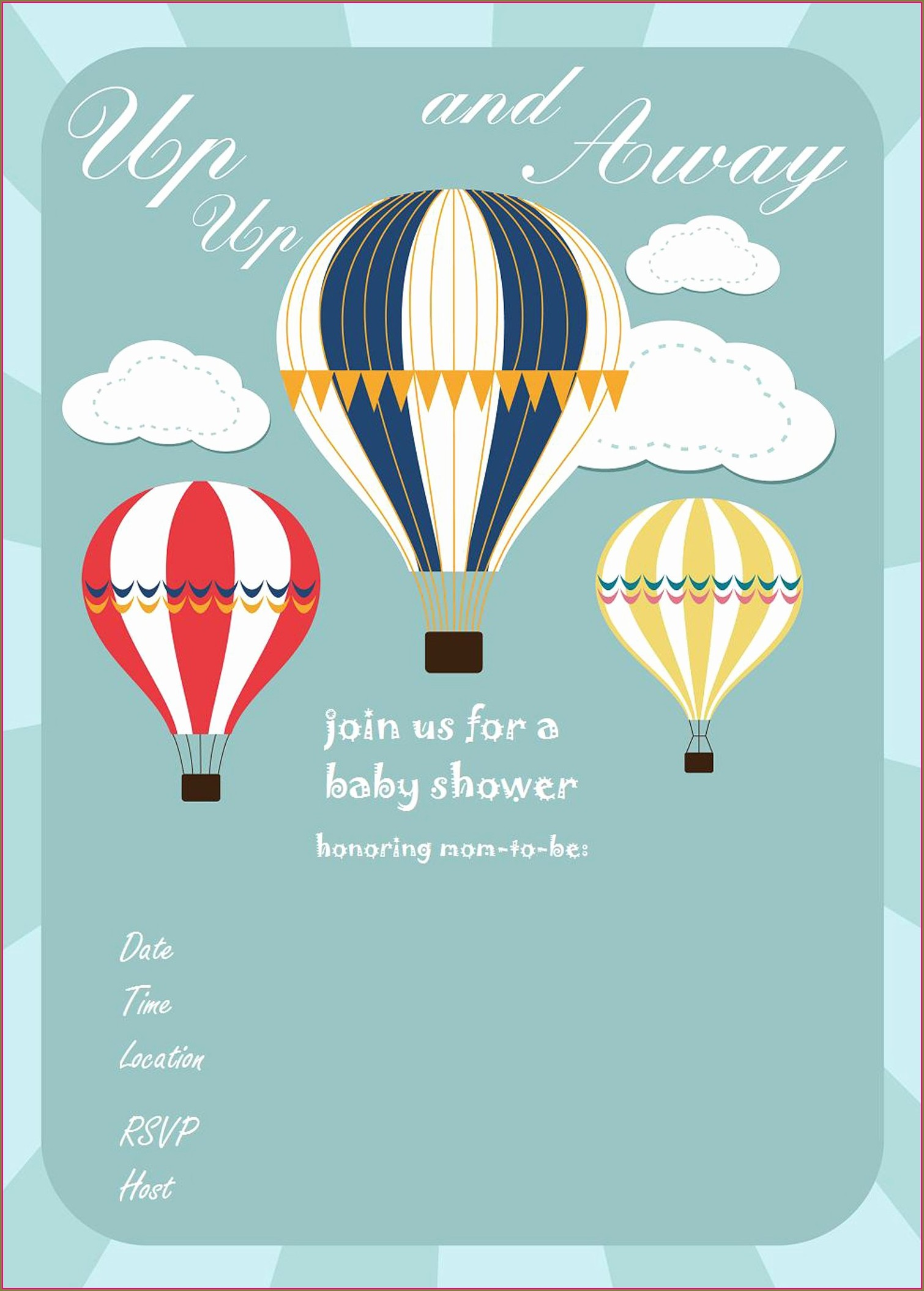 Hot Air Balloon Birthday Invitation Template Free