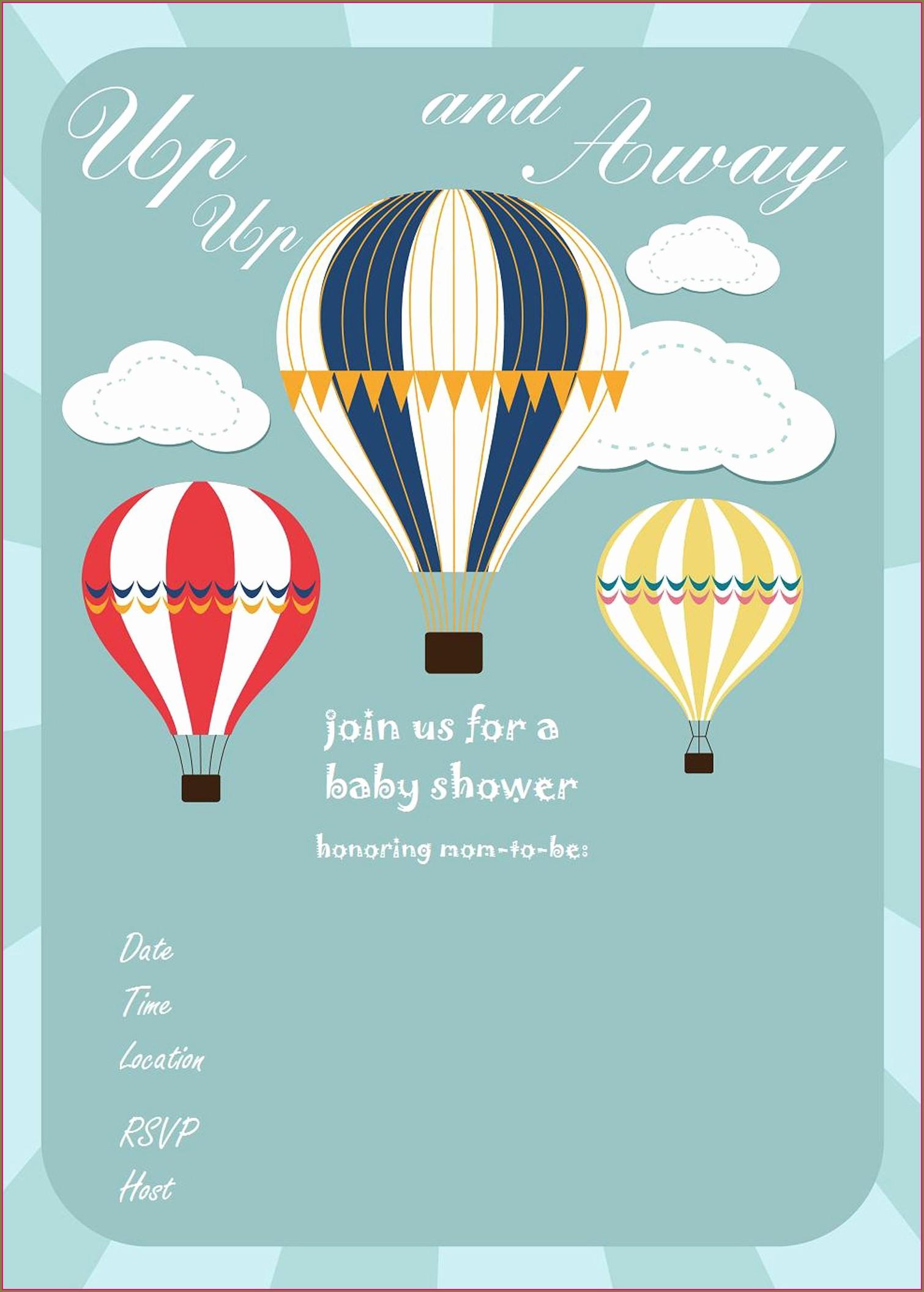 Hot Air Balloon Invitation Template Free