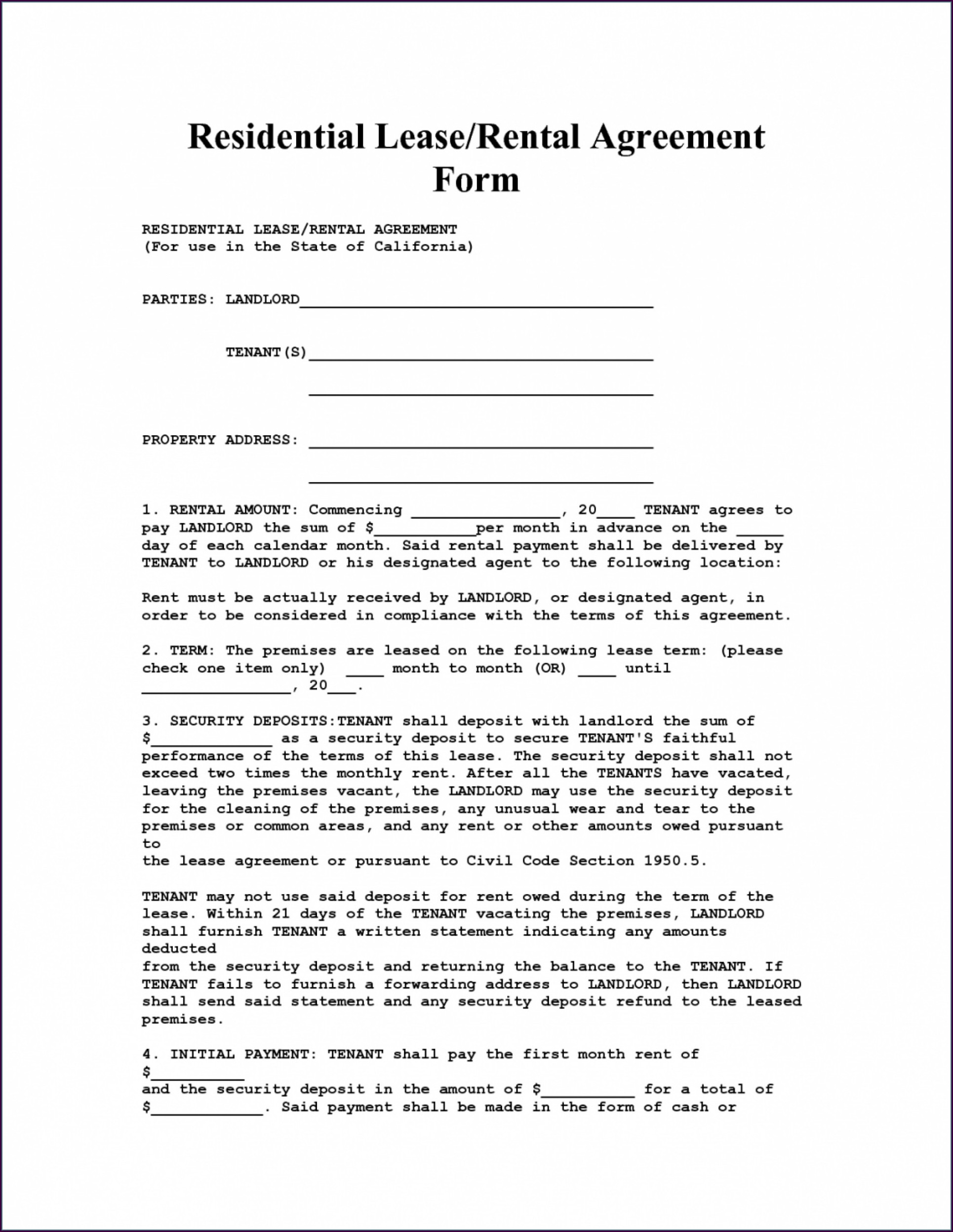 House Rental Contract Template South Africa