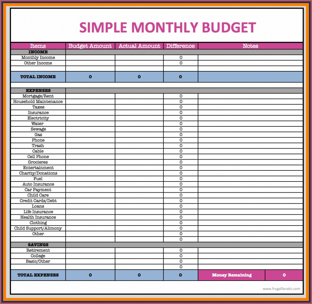 Household Budget Free Budget Planner Template
