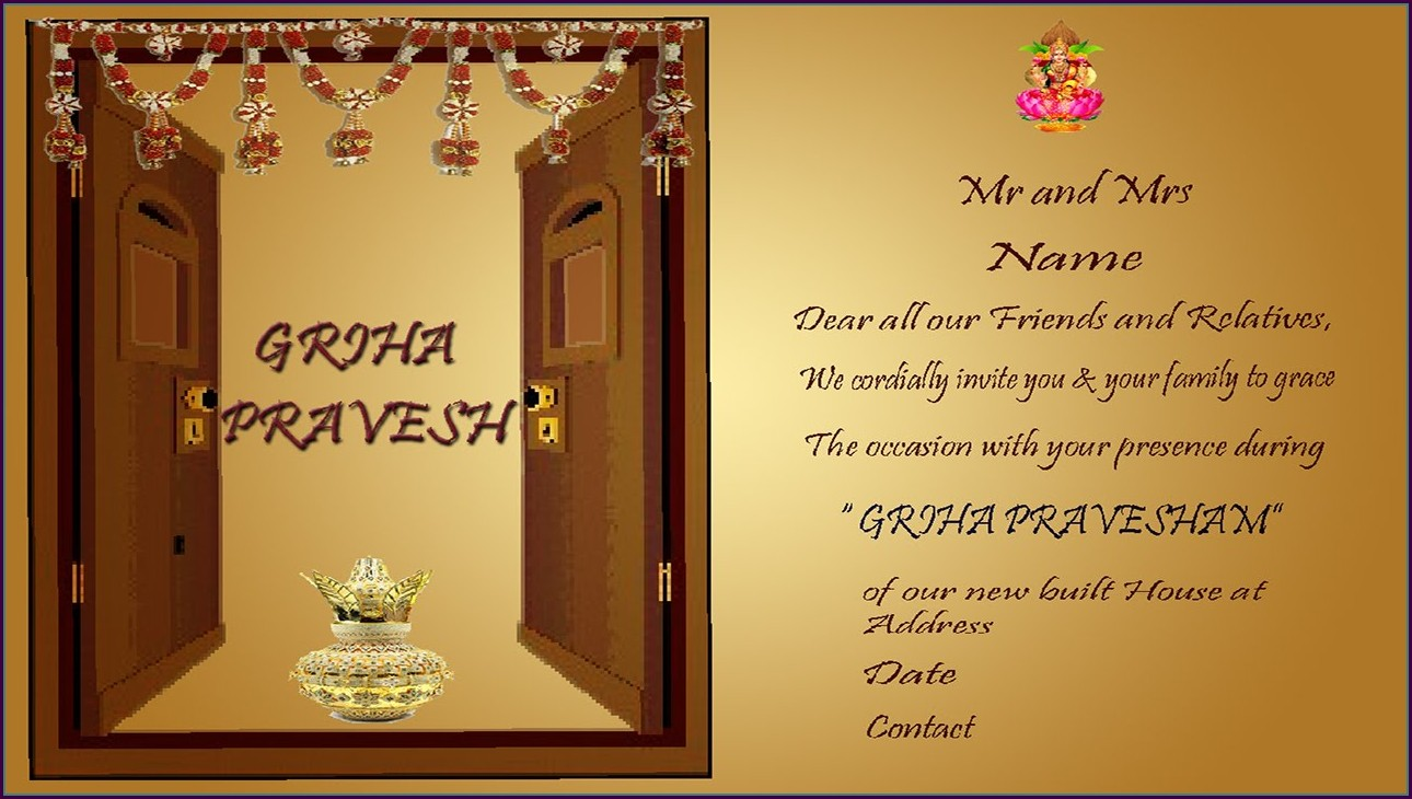 Housewarming Invitation Template India