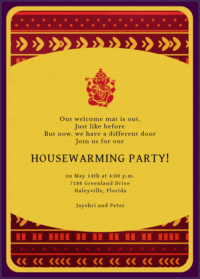 Housewarming Invitation Template Indian