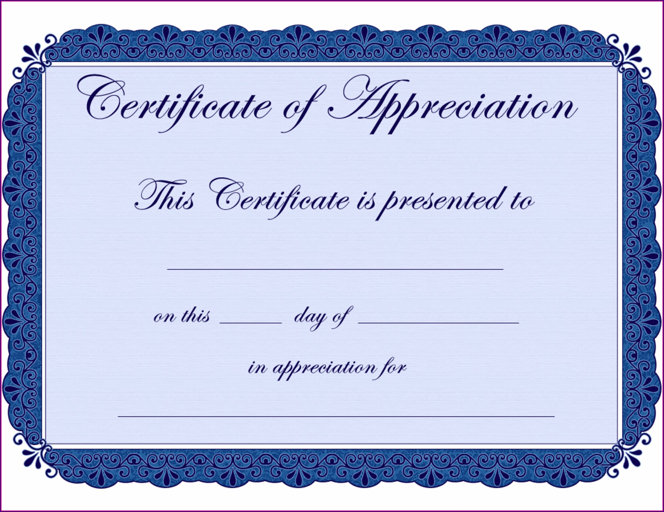 In Appreciation Certificate Templates