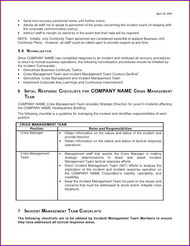 Incident Management Communication Plan Template
