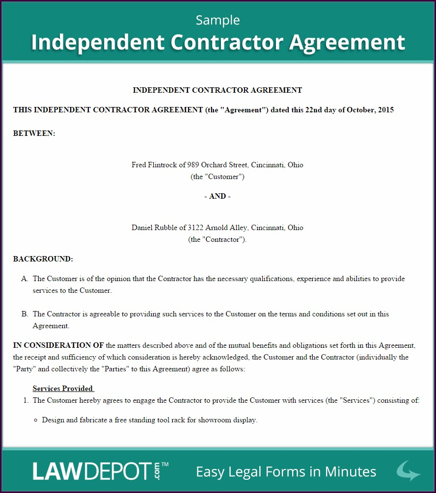 Independent Contractor Agreement Sample Template