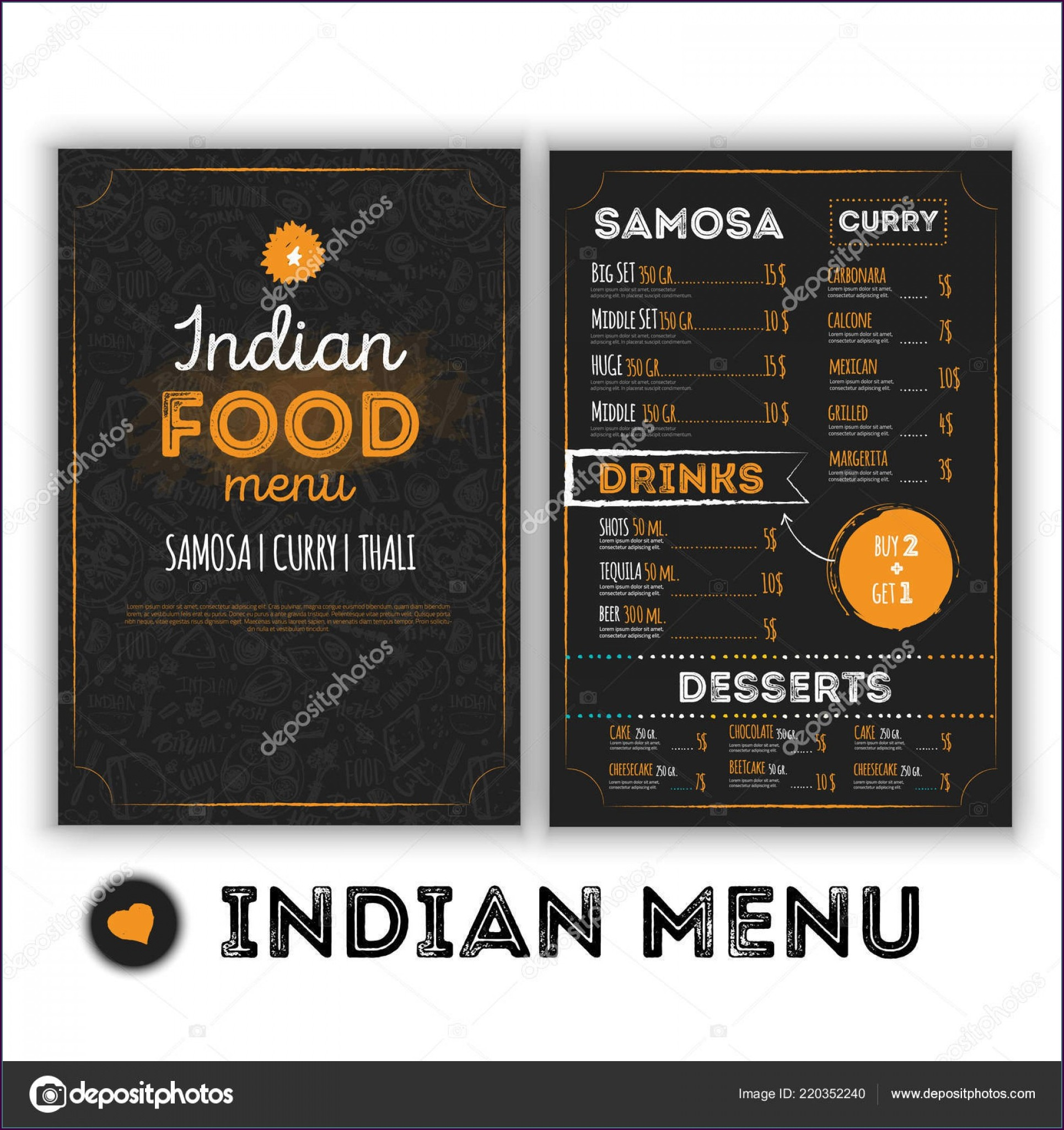 Indian Restaurant Menu Template