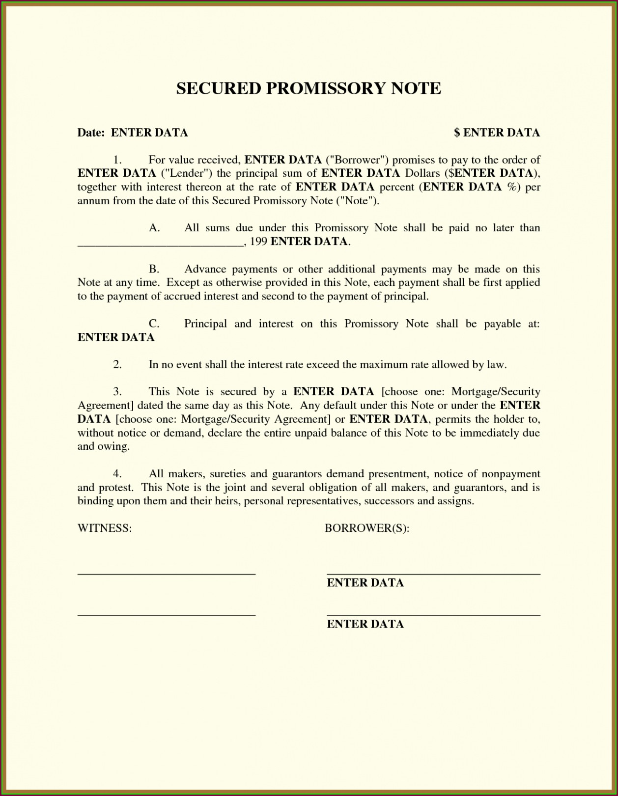 International Promissory Note Template