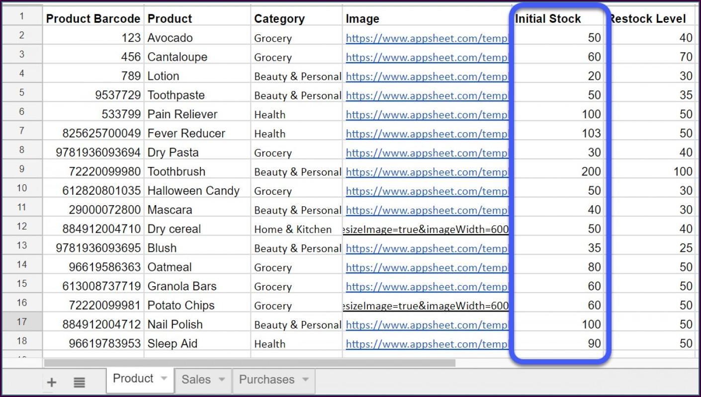 Inventory Tracking Food Inventory Template