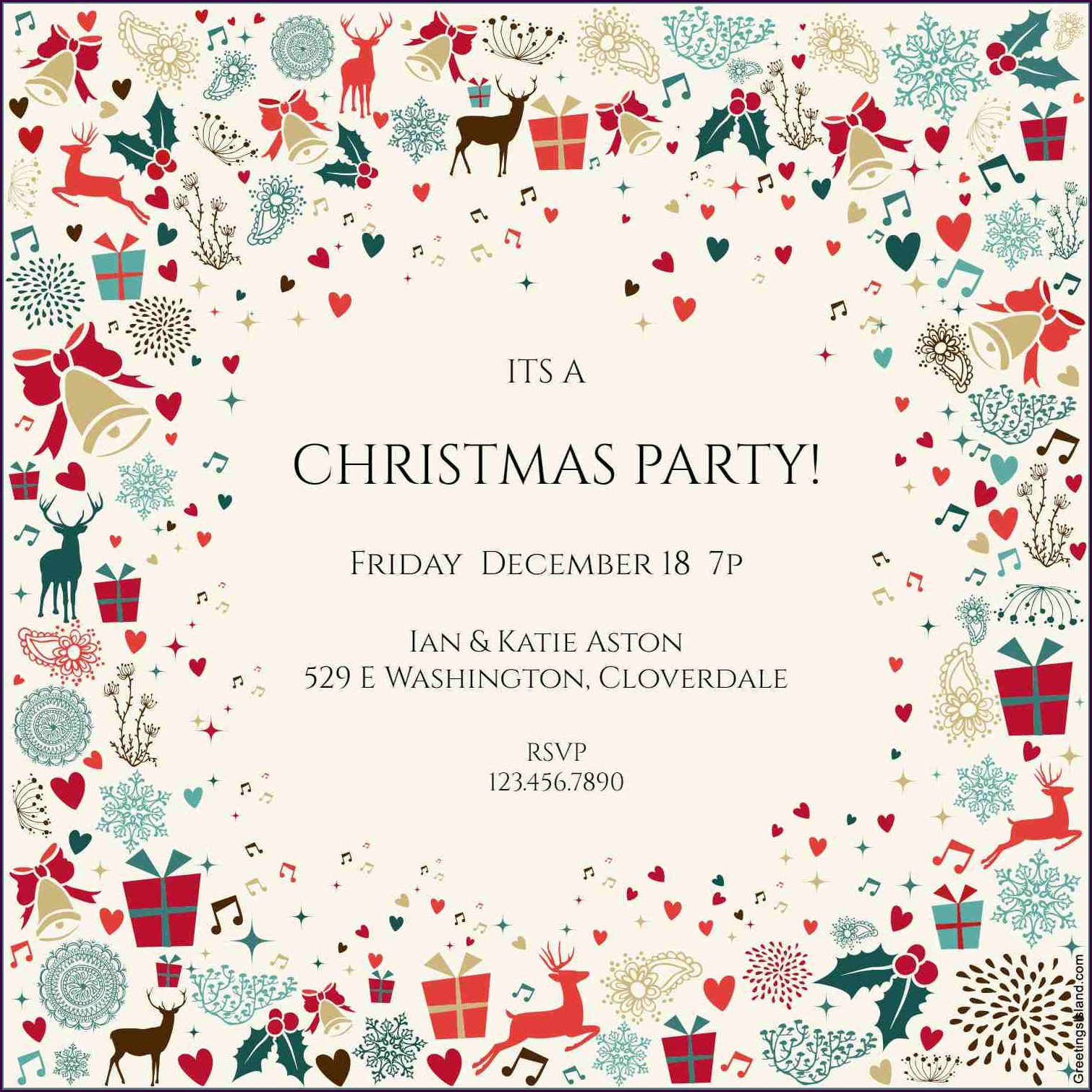 Invitation Templates Printable Christmas Invitation Wording