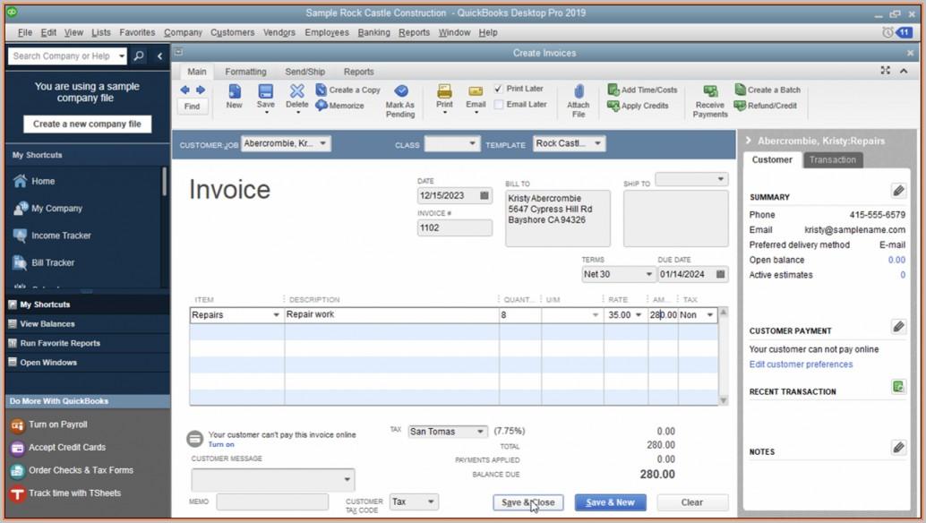 Invoice Templates For Quickbooks Desktop