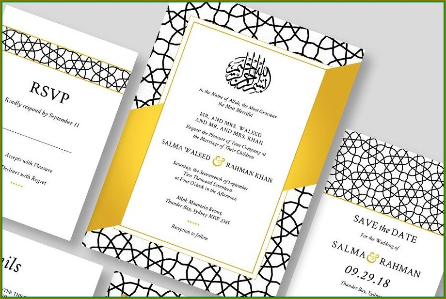 Islamic Wedding Invitation Cards Templates